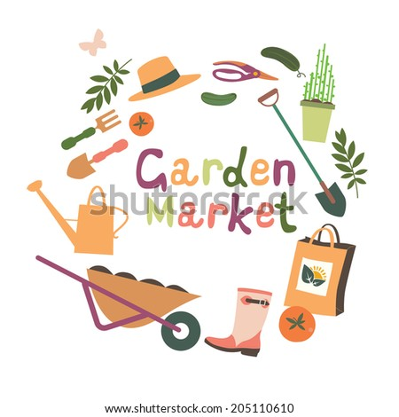 Garden market design Raster version - stock photo
