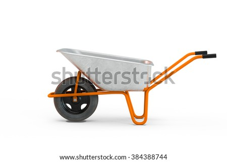 Garden metal wheelbarrow cart isolated on white background - stock photo