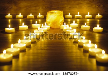 garden of meditation with many candle lights - stock photo