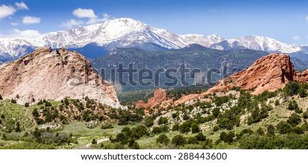 Garden of the Gods Park in Colorado Springs Colorado - stock photo