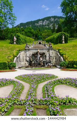 Garden of the Linderhof Palace in Germany