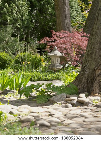 garden path in the China style - stock photo