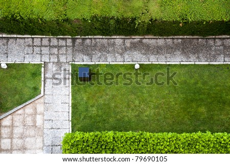 garden path top view - stock photo