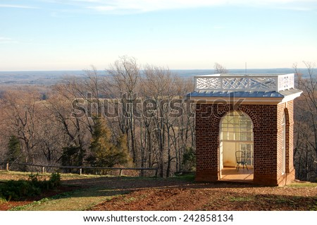 Garden Pavilion at Thomas Jefferson's estates, Monticello, in Charlottesville, VA.  This Grecian temple was designed by Jefferson and was a favorite spot of his. - stock photo
