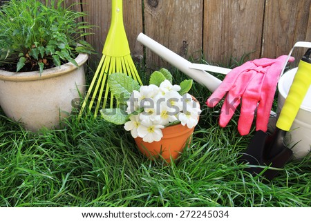 Garden rake, primrose flowers in a clay pot and a watering can against grass and a wooden fence. - stock photo