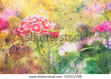 garden red flowers and abstract colorful watercolor smudges - stock photo