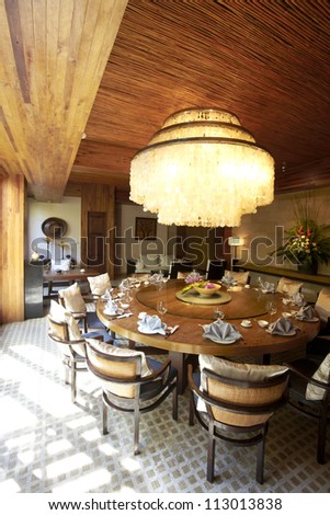Garden restaurant's private dining room - stock photo
