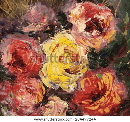 garden roses of different colors , illustration in oil painting