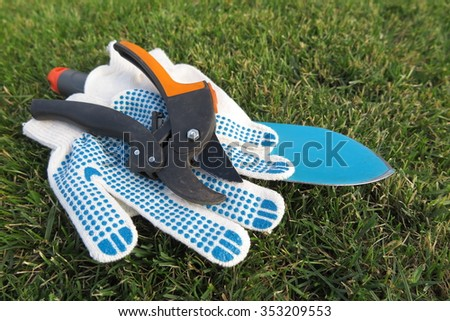 Garden secateurs, garden scoop and working textile gloves on the mown lawn in the summer garden
