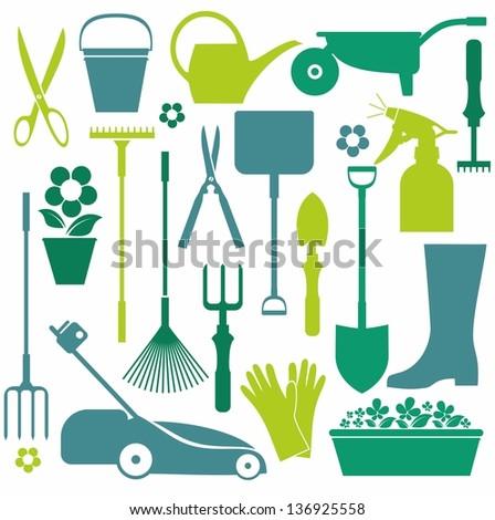 Garden set  icons - stock photo