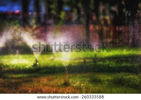 Garden sprinkler on a sunny summer day during watering the green lawn in garden. - stock photo