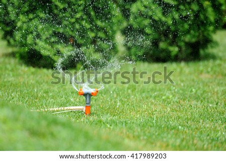 Garden sprinkler working on a green grass lawn
