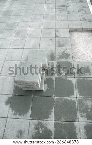 Garden stone path Brick Sidewalk paving tiles - stock photo