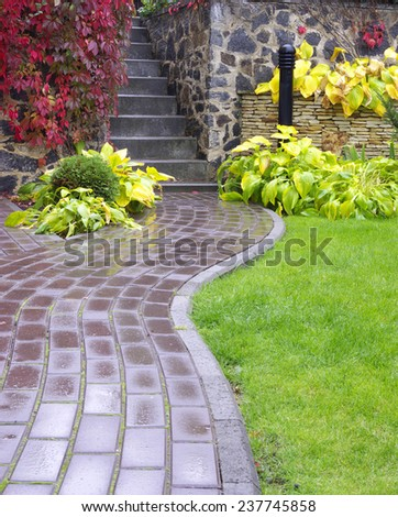 Garden stone path with grass growing up between the stones after rain. - stock photo
