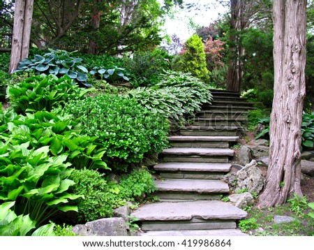 Garden stone stairs       - stock photo
