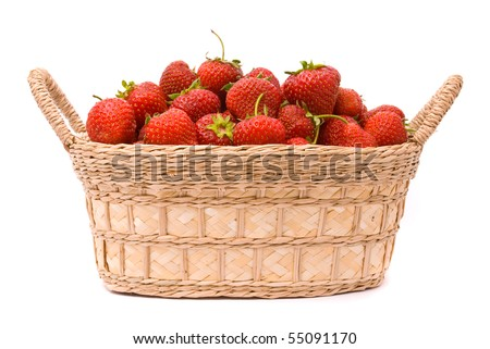 Garden Strawberries in wooden basket isolated on white - stock photo