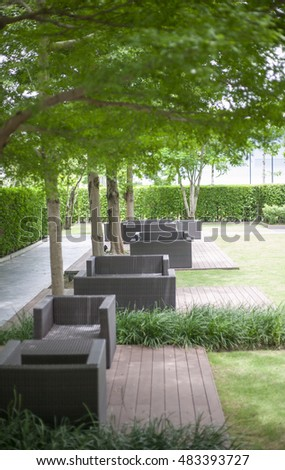 Garden table and chairs under the tree