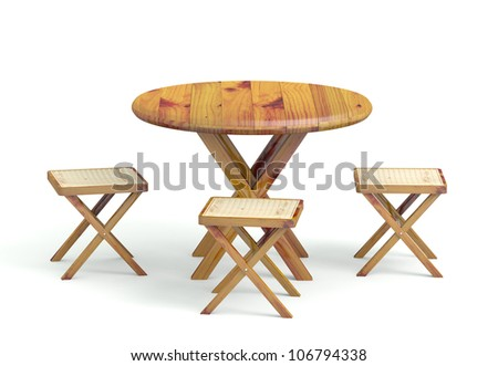 Garden table with chairs made of wood. 3D model - stock photo