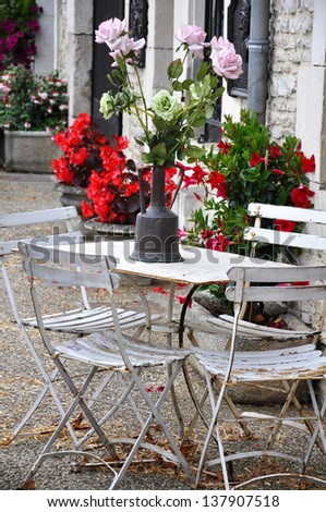 Garden table with flowers