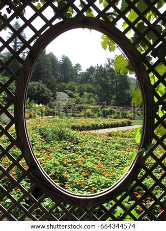 Garden Through Lattice Oval