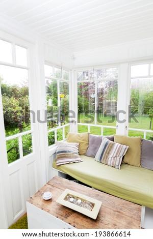 garden through windows - stock photo