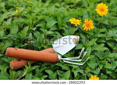 Garden tool in lawn - stock photo