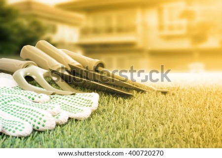 Garden tools equipment for essentials gardener use. - stock photo
