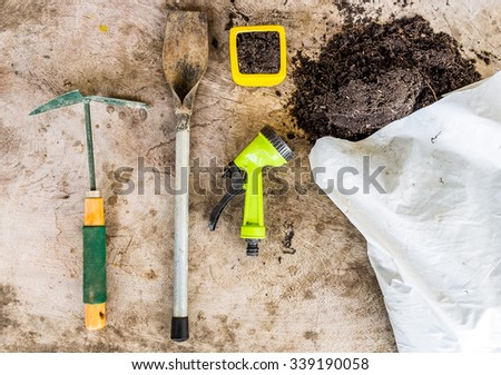 Garden tools for planting on wood background - stock photo