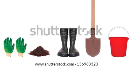 Garden tools on a white background