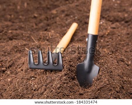 Garden Tools on Soil - stock photo