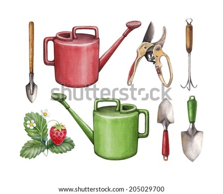 Garden tools vegetables watercolor illustrations stock for Vegetable garden tools
