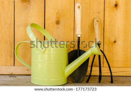Garden tools with watering can, trowel, and hand cultivator on wood background.