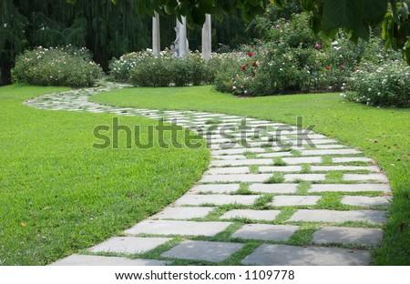 Garden Walk on path - stock photo