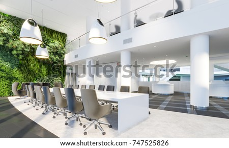 Beau Garden Wall In Office Interior. Green Wall In Interior. Modern Meeting Room.  Plants