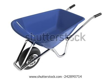 Garden wheelbarrow isolated on white - stock photo
