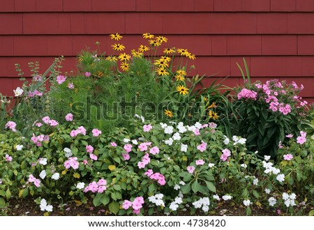 garden with impatiens and black eyed susan flowers