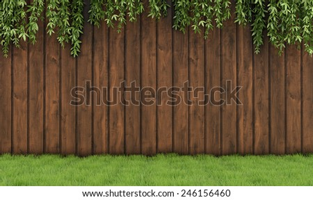 Garden with old wooden fence, grass and leaf plant-3D Rendering - stock photo