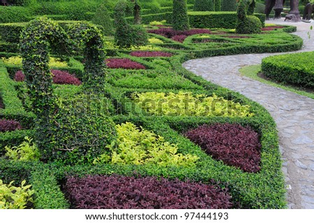 Garden with path - stock photo