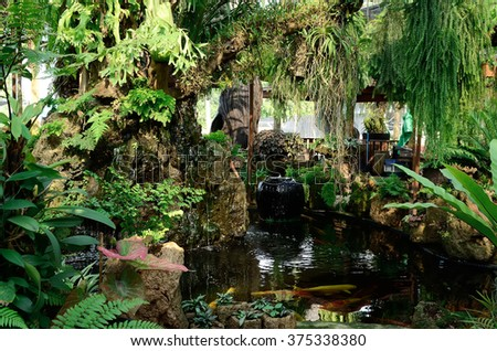 garden with pond in asian style - stock photo