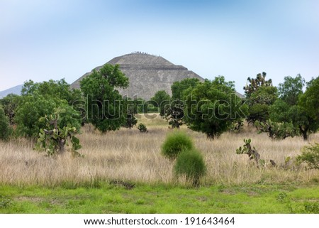 Garden with ruins in the background, Teotihuacan, Mexico City, Mexico - stock photo