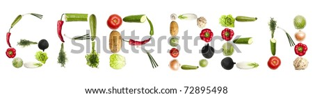 Garden word made of different type of vegetables