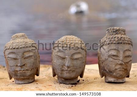 Garden Zen Statue detail - stock photo