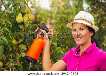 Gardener applying an insecticide fertilizer to his fruit shrubs, using a sprayer - stock photo