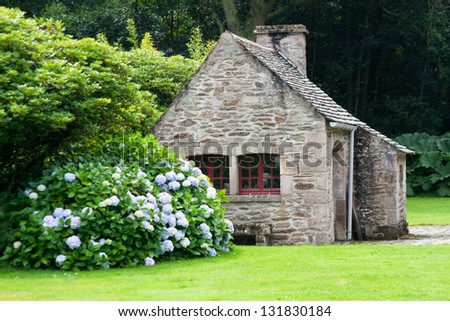 Gardener house in Castle de Nacqueville (Chateau de Nacqueville), Normandy, France - stock photo
