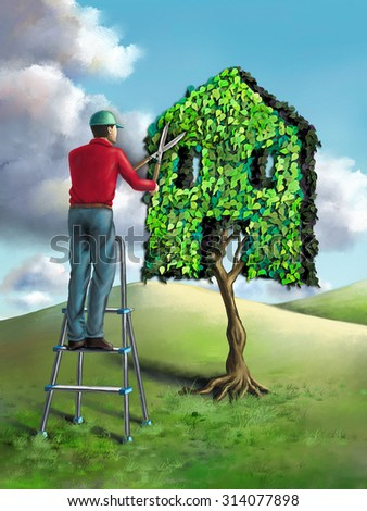 Gardener shaping a small tree as an house. Digital illustration. - stock photo