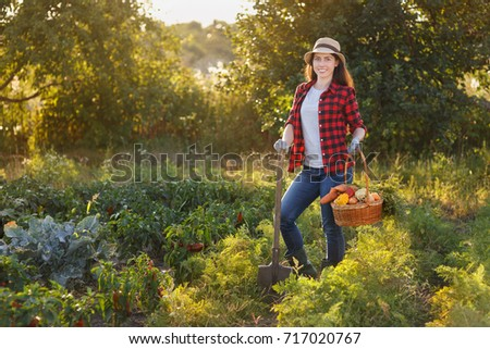 Gardener with freshly harvested vegetables in garden with sunshine. Happy woman farmer holding basket with crop and spade. Gardening, agriculture, autumn harvest concept