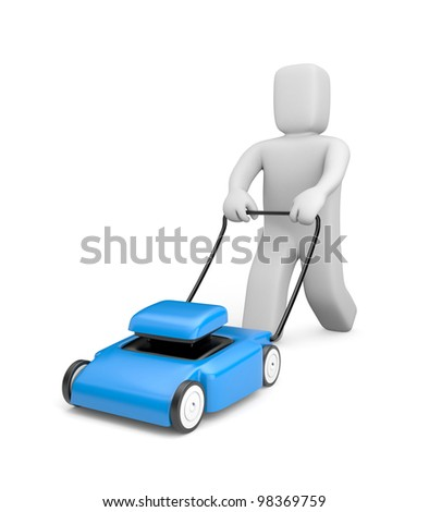 Gardener with mover. 3d people. Image contain clipping path