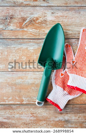 gardening and planting concept - close up of trowel and garden gloves on table - stock photo