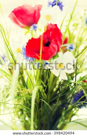 gardening, botany, summer and flora concept - beautiful wildflowers bunch - stock photo