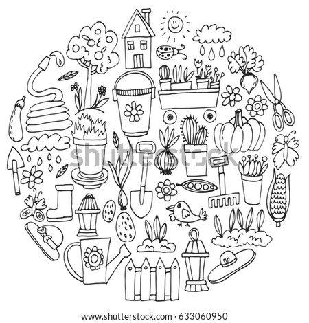 Big Set Handdrawn Vintage Sketch Garden Stock Vector 371868361